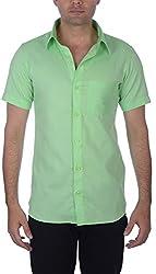 Darzii Men's Casual Shirt (DZ002, Parrot Green, XXL)