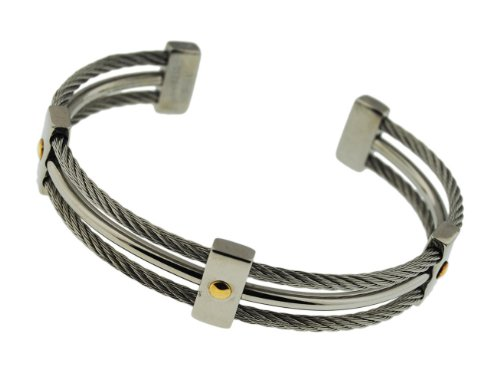 Stainless Steel 3 Row Cable Bangle