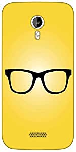 Snoogg hipster glasses yellow Designer Protective Back Case Cover For Micromax A116