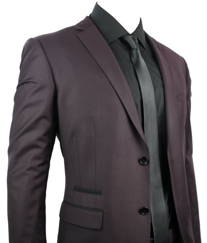 Mens Slim Fit Suit Maroon 2 Button Black Piping Office Party Wedding Suit UK Stock