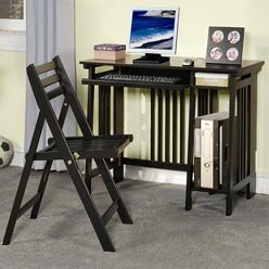 Buy Low Price Comfortable Desks Casual Folding Computer Desk with Keyboard Tray and Chair by Coaster (B0051PC1LA)