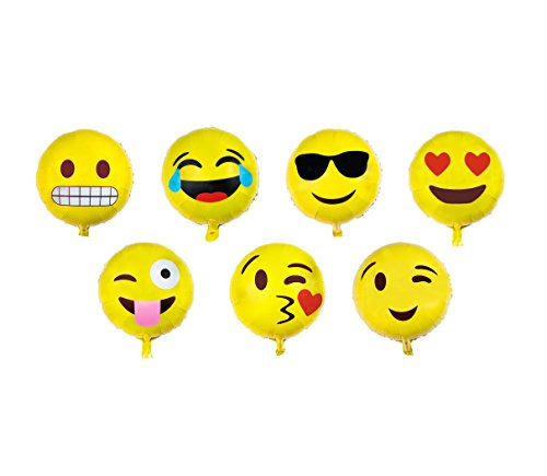 Emoji Balloon Happy Birthday Party Set Of 7 Pack Mylar Foil 18 Inch Helium Reusable Ballons For Congratulation Decoration Anniversary Festival Graduation