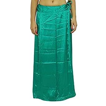 Amazon.com: Odishabazaar Women Green Saree Petticoat Satin Silk