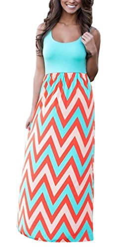 Demetory Women`S Bohemian Sleeveless Backless Wave Striped Maxi Dress (U16-18