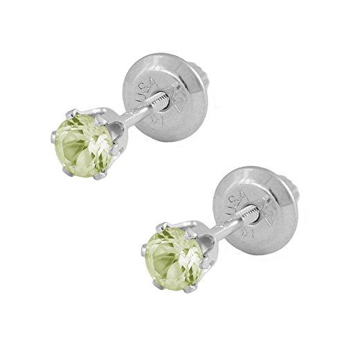 14K-White-Gold-Genuine-Peridot-Girls-Stud-Earrings-August-Birthstone
