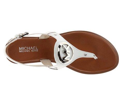 Michael Kors Aubrey Charm Thong Sandal Optic White Leather Flat Shoes front-665675