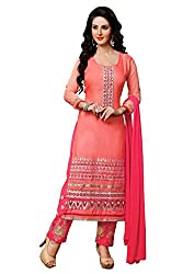 Mandani Fashion women's Cotton Party Wear Unstitched dress material (SF308_Pink color)