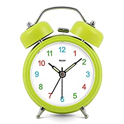 3 inches Non-ticking Silent Quartz Bedside Twin Bell Alarm Clock with Nightlight and Noctilucent Pointer, 90*120*50mm, grass green