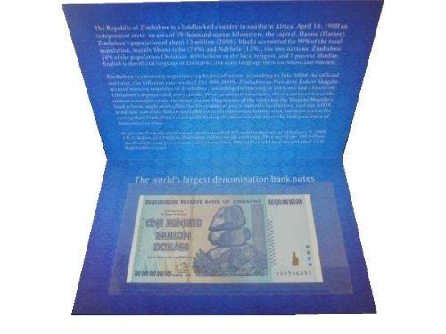 100兆ジンバブエドル 記念品 プレゼント ケース付き ハイパーインフレ 紙幣 世界
