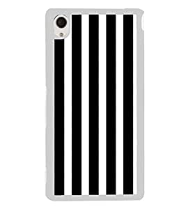 Black and White Lines 2D Hard Polycarbonate Designer Back Case Cover for Sony Xperia M4 Aqua :: Sony Xperia M4 Aqua Dual