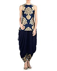 Blue BANARSI Embroidered Dress Material