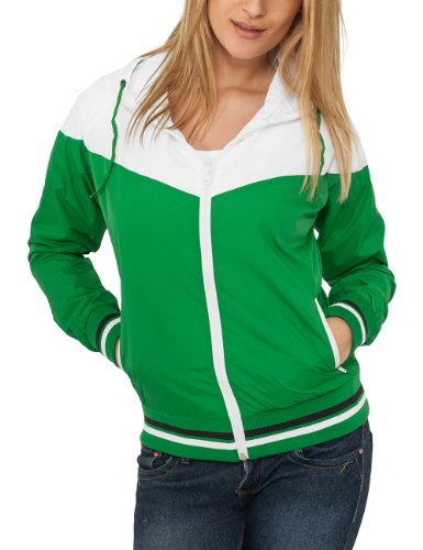 Urban Classics - Bekleidung Ladies Windrunner, Giacca Donna, Multicolore (White/Green), Large (Taglia Produttore: Large)