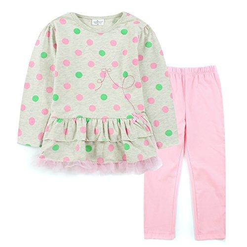 Neighbor Girl Per i bambini, rosso e verde onda punto ragazza felpe pantaloni rosa 2 pezzi set