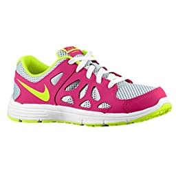 Nike Girls Kids Fusion Run 2 Running Shoes-Pure Platinum/Volt Ice-2