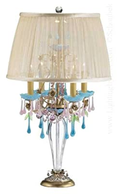 Schonbek 1419-48DI Rose 4 Light Table Lamp in Antique Silver with Diamond crystal
