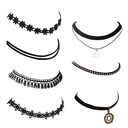 Snowman-Lee-7-Pieces-Black-Tattoo-Velvet-Vintage-Choker-Necklace