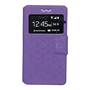 J Cover Toto Series Leather Pouch Flip Case With Silicon Holder For Gionee Pioneer P5 mini Purple