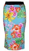 Womens Floral Print Tube Knee Length Midi Bodycon Office Skirt