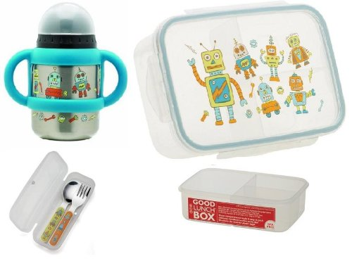 Sugarbooger Divided Good Lunch Box, Silverware, and Flip N Sip Cup Set, Retro Robot