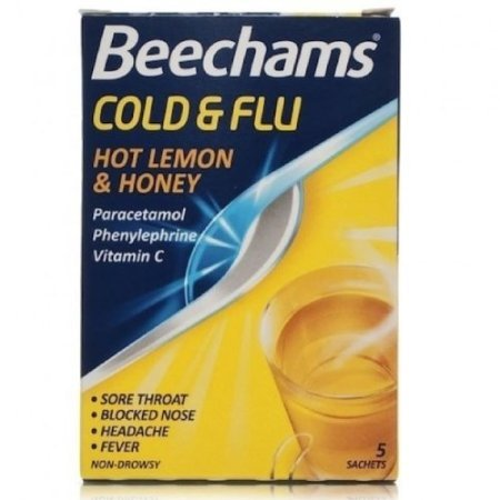 Beechams Cold & Flu Sachets, Hot Lemon & Honey