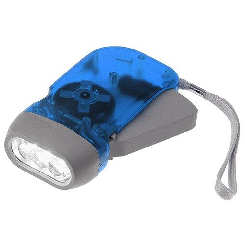 Chromo Inc No Battery Needed Translucent Green Energy 3 Led Pure Whitelight Hand-Powered Emergency Flashlight - Blue