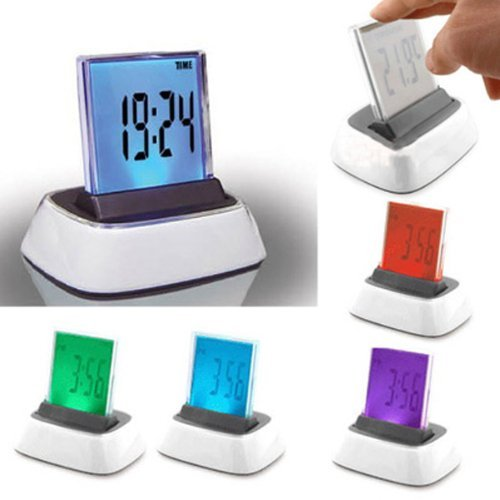 Qich® 7 Colors Change LED Desktop Design Digital Alarm Clock Display Date Time Calendar + Thermometer