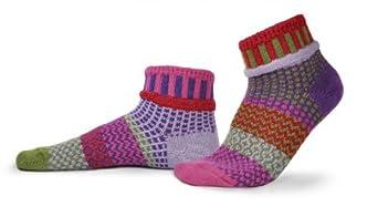 Solmate Socks - Mismatched Ankle Socks; Made in USA; Hyacinth Large