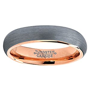 Tungsten Wedding Band Ring 5mm for Men Women Comfort Fit 18K Rose Gold Plated Domed Brushed Lifetime Guarantee by Charming Jewelers