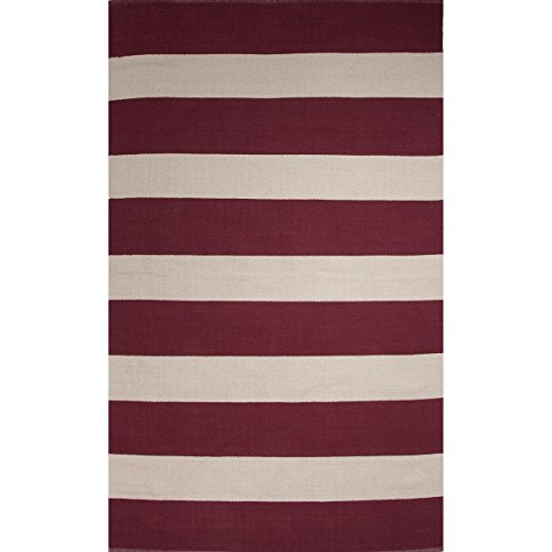 2' x 3' Cherry Red & Light Gray Trion Flat-Weave Hand Made Striped Cotton Area Throw Rug