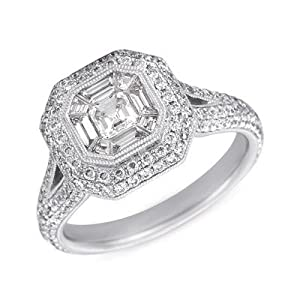 14k 1.38 Dwt Diamond White Gold M.pave Ring - JewelryWeb