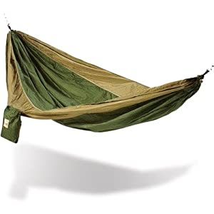 Hammaka Parachute Silk Fabric Hammock Color: Army Green / Brown at Sears.com
