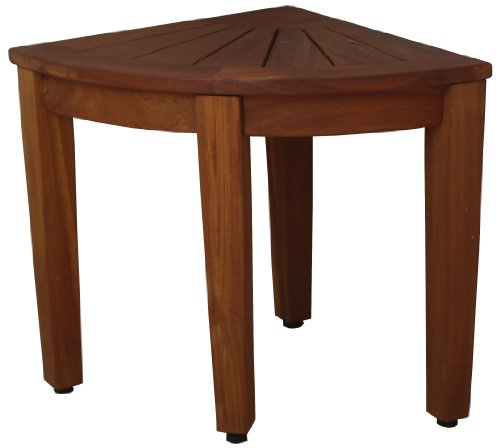 Corner Solid Teak Bath Shower Outdoor Stool Teak Patio