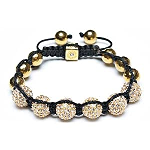 Bling Jewelry Disco Ball Bead Bracelet Shamballa Inspired Gold Plated Faceted Beads