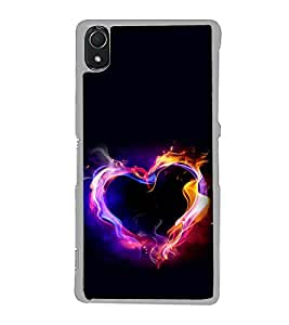 Burning Heart 2D Hard Polycarbonate Designer Back Case Cover for Sony Xperia Z3 :: Sony Xperia Z3 Dual :: Sony Xperia Z3 D6633