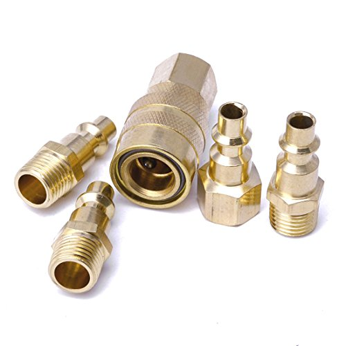 "5Pcs 1/4"" NPT Brass Quick Coupler Solid Air Hose Connector Fittings Tools Hot"