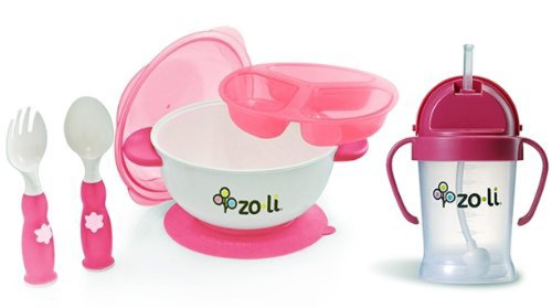 Zoli Pink Stuck Suction Bowl Feeding Set WITH Pink Sippy Cup