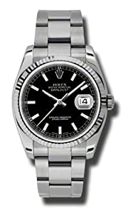Rolex Datejust Black Dial Stainless Steel Bracelet Mens Watch 116234BKSO by rolex