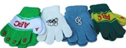 Four Pairs One Size Stretch Microfiber Lined Magic Gloves for Ages 1-4 Years