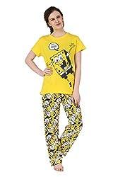 Brand Me Up women It's Friday pyjama night suit set round neck cap sleeve night suit set - M Size (Yellow)