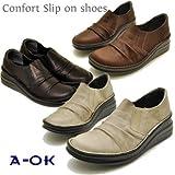 [A-OK エーオーケー] a-ok 靴 サイドゴア ウェッジソール スリッポンシューズ [本革] (23.0cm, ダークブラウン)