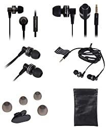 AWEI ES900i Rugged aluminium In-Ear Earbuds Style Clear Bass Sound with microphone for iPod, iPhone, HTC, Samsung Phone, MP3/MP4 Player, PC, cell phones, etc. (Black)