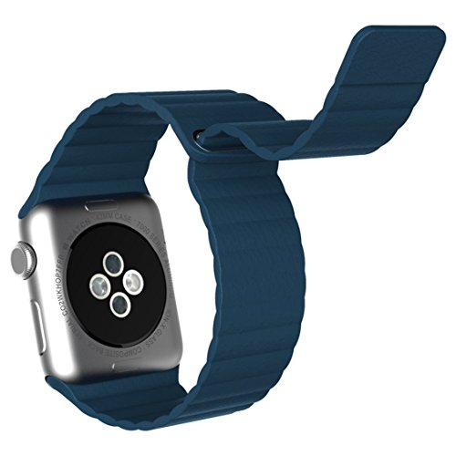 Amanstino Replacement Genuine Leather Loop Band for Apple Watch iwatch all version realsed on 2015(42MM BLUE)