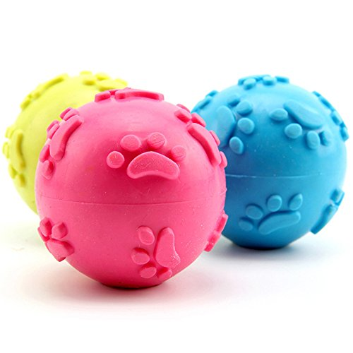 IWMH Pets Play Strong Virtually Indestructible Colorful Rubber Ball Bite Squeaker Dog Teething Chew Toy (3 Balls)