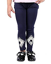 StyleMyKidz Girls' Skinny Leggings (Swaroski-Designer-Leggings, Navy Blue, 4-5 Years)