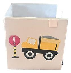 Toy Storage Box Bin Organizer Collapsible, White- 100% Money Back Guarantee (Dump Truck)