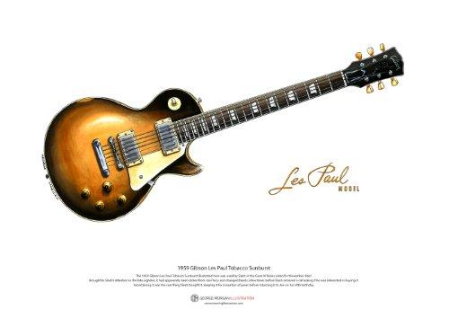 Poster di arte Slash 1959 Gibson Les Paul, formato A3