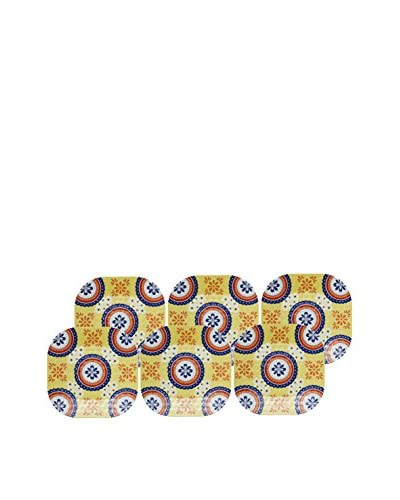 Q Squared NYC Set of 6 Montecito 11 Tile Dinner Plates, Yellow
