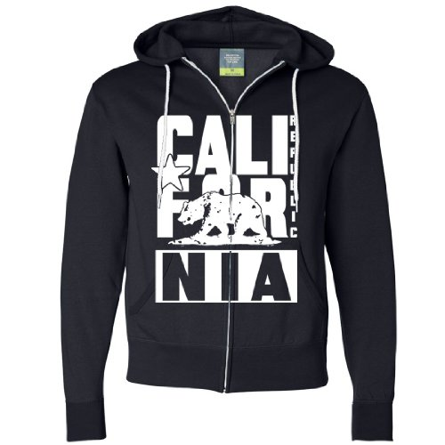 California Republic White Retro Zip-Up Hoodie By Dsc - Navy Large front-279546