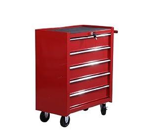 Fahrbarer Werkstattwagen Werkzeugwagen Rollwagen Werkzeugkasten mit 5 Schubladen rot  BaumarktBewertungen und Beschreibung