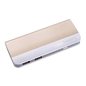 Lumsing 10400mah Harmonika-Stil USB Port Externer Akku Batterie Power Bank Ladegerät für Smartphones, Android Phones Tablets, iPad, iPhone, Handy, PSP, GoPro, GPS - Champagner